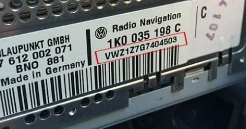 Volkswagen Navigation Radio Sticker Location